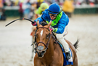 LOUISVILLE, KY - MAY 05:  Florent Geroux  celebrates as he wins the La Troienne Stakes aboard Big World #3 at Churchill Downs on May 5, 2017 in Louisville, Kentucky. (Photo by Alex Evers/Eclipse Sportswire/Getty Images)