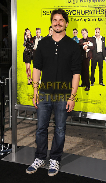 "Jason Ritter.""Seven Psychopaths"" Los Angeles Premiere held at the Bruin Theatre, Westwood, California, USA..October 1st, 2012.full length top jeans denim black goatee facial hair .CAP/ROT/TM.© TM/Roth/Capital Pictures"