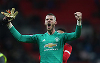 Manchester United's David De Gea celebrates at the end of the game<br /> <br /> Photographer Rob Newell/CameraSport<br /> <br /> The Premier League - Tottenham Hotspur v Manchester United - Sunday 13th January 2019 - Wembley Stadium - London<br /> <br /> World Copyright &copy; 2019 CameraSport. All rights reserved. 43 Linden Ave. Countesthorpe. Leicester. England. LE8 5PG - Tel: +44 (0) 116 277 4147 - admin@camerasport.com - www.camerasport.com
