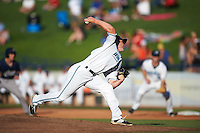 West Michigan Whitecaps starting pitcher Jordan Smith (28) during a game against the Burlington Bees on July 25, 2016 at Fifth Third Ballpark in Grand Rapids, Michigan.  West Michigan defeated Burlington 4-3.  (Mike Janes/Four Seam Images)