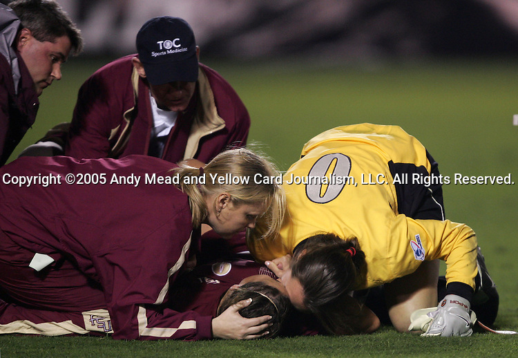 After breaking her leg in a collision, FSU's Melissa Samokishyn (center) is comforted by goalkeeper Ali Mims (0) The UCLA Bruins defeated the Florida State University Seminoles 4-0 at Aggie Soccer Stadium in College Station, Texas, Friday, December 2, 2005.
