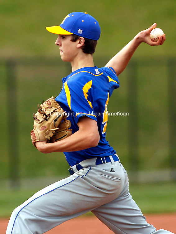 Terryville, CT-07 May 2012-050712CM10- Housatonic's Wilson Terrall delivers a pitch during their matchup against Terryville Monday afternoon in Terryville.  Terrall would get the win as Housy defeated the Roo's, 7-3.   Christopher Massa Republican-American