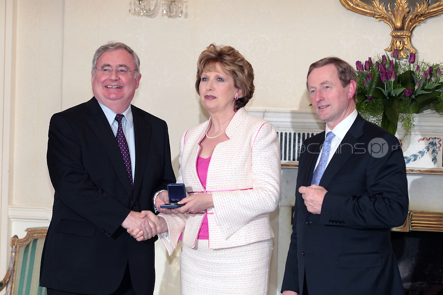 9/3/11 Pat Rabbitte, Minister for Communications, Energy and Natural Resources, President Mary McAleese and Taoiseach Enda Kenny at Aras An Uachtarain for the appoinment of the Government. Pictures:Arthur Carron/Collins