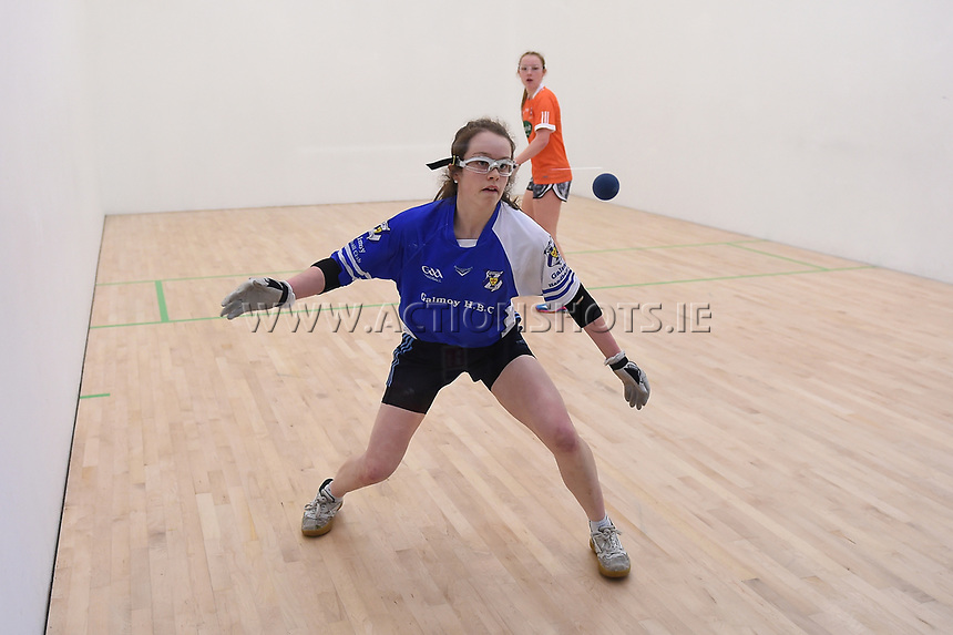30/04/2017; 2017 40x20 Irish Junior National Handball Finals; Moycullen; Co Galway<br /> Girls 17 &amp; Under Final<br /> Megan McCann (Armagh) vs Mary Ellen Phelan (Kilkenny)<br /> Photo Credit: actionshots.ie/Tommy Grealy