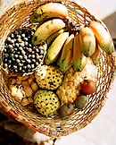 Brazil, Belem, South America, variety of Amazon fruit kept in basket for sale at market, elevated view