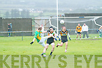 South Kerry's Ronan Hussey has a chance of a score but Stacks defense of Denis Costello proved enough to deny the home side of an opening score.