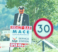 The Jackie Healy-Rae poster as you enter the village of Kilgarvan in County Kerry..Picture by Don MacMonagle Jackie Healy-Rae, TD from the book by Don MacMonagle entitled 'Jackie - Keeping Up Appearances' published in 2002.