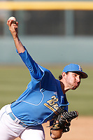 Zack Weiss #32 of the UCLA Bruins pitches against the California Golden Bears at Jackie Robinson Stadium on March 23, 2013 in Los Angeles, California. (Larry Goren/Four Seam Images)