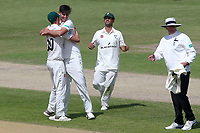 Josh Tongue of Worcestershire celebrates with his team mates after taking the wicket of Simon Harmer during Worcestershire CCC vs Essex CCC, Specsavers County Championship Division 1 Cricket at New Road on 13th May 2018