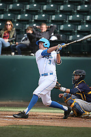 Ryan Kreidler (3) of the UCLA Bruins bats against the California Bears at Jackie Robinson Stadium on March 25, 2017 in Los Angeles, California. UCLA defeated California, 9-4. (Larry Goren/Four Seam Images)