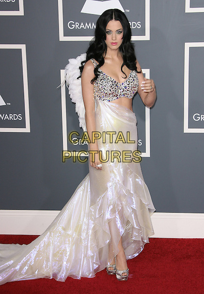 KATY PERRY.The 53rd Annual GRAMMY Awards held at the Staples Center, Los Angeles, California, USA..February 13th, 2011.arrivals grammys full length white long maxi angel wings dress train shimmery shiny silver beaded cut out embellished platform peep toe shoes hand.CAP/ADM.©AdMedia/Capital Pictures.