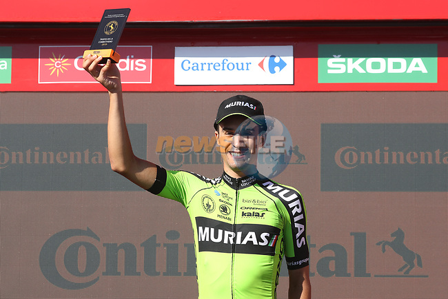 Hector Saez (ESP) Euskadi-Murias wins the day's combativity prize at the end of Stage 15 of La Vuelta 2019  running 154.4km from Tineo to Santuario del Acebo, Spain. 8th September 2019.<br /> Picture: Luis Angel Gomez/Photogomezsport | Cyclefile<br /> <br /> All photos usage must carry mandatory copyright credit (© Cyclefile | Luis Angel Gomez/Photogomezsport)