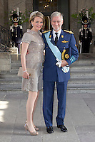The royal christening of Crown Princess Victoria and Prince Daniel's daughter Princess Estelle Silvia Ewa Mary of Sweden, in the Royal Chapel in Stockholm, 22.05.2012...Picture shows: Crown Prince Philippe and Crown Princess Mathilde of Belgium...Credit: Stella Pictures/face to face..- Germany, Austria, Switzerland and USA rights only - / Mediapunchinc