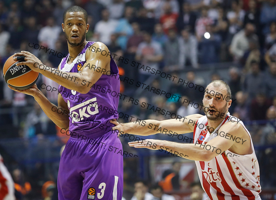 BELGRADE, SERBIA - DECEMBER 22: Anthony Randolph (L) of Real Madrid in action against Marko Simonovic (R) of Crvena Zvezda during the 2016/2017 Turkish Airlines EuroLeague Regular Season Round 14 game between Crvena Zvezda MTS Belgrade and Real Madrid at Aleksandar Nikolic Hall on December 22, 2016 in Belgrade, Serbia. (Photo by Srdjan Stevanovic/Getty Images)