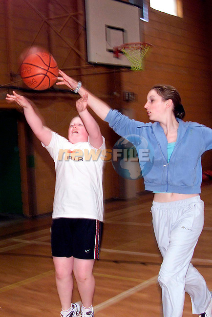 Clare Campbell and Emma Plunkett in action at the Bulletts Basketball camp at the Sacred Heart School..Picture: Paul Mohan/Newsfile
