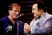 Montreal (QC) CANADA - File Photo circa 1987 -  Jean Lapointe (L) and Raymond Devos (R) at  Saint-Denis Theatre during the Festival Juste Pour Rire