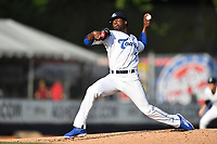 Asheville Tourists starting pitcher Breiling Eusebio (40) delivers a pitch during a game against the Hickory Crawdads at McCormick Field on July 14, 2017 in Asheville, North Carolina. The Crawdads defeated the Tourists 6-3. (Tony Farlow/Four Seam Images)