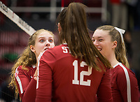Stanford, CA - October 18, 2019: Holly Campbell, Audriana Fitzmorris, Kendall Kipp at Maples Pavilion. The No. 2 Stanford Cardinal swept the Colorado Buffaloes 3-0.