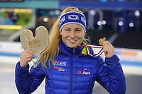 SCHAATSEN: HEERENVEEN: 04-02-2017, KPN NK Junioren, Junioren A Dames Mass Start, kampioene Marijke Groenewoud, ©foto Martin de Jong