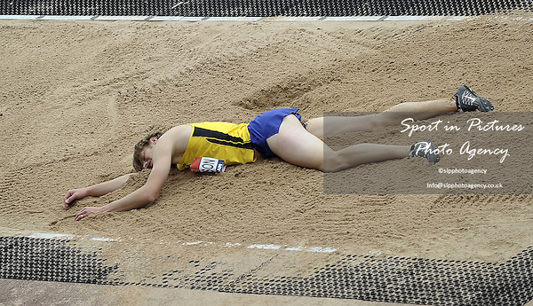 Christopher (Chris) Tomlinson (Newham) lays in the long jump pit as he comes up short in the Mens long jump. British Athletics Championships. Alexander Stadium. Birmingham. UK. 26/06/2016. ~ MANDATORY CREDIT Garry Bowden/SIPPA - NO UNAUTHORISED USE - +447837 394578