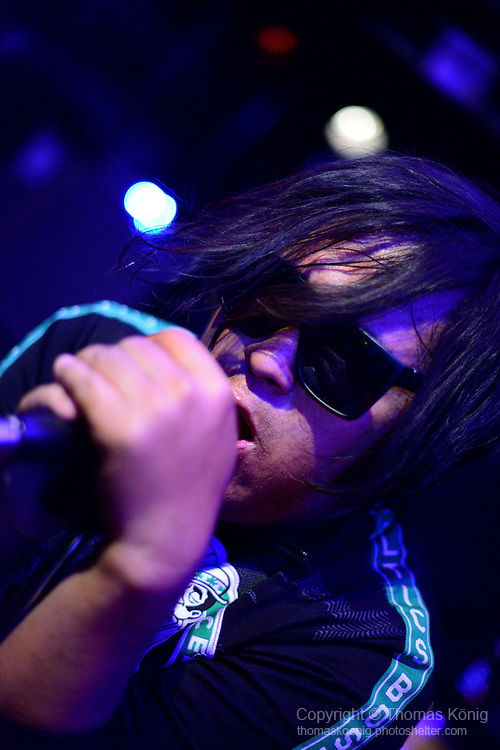 Rocks, Kaohsiung -- Yong Zhu, lead singer of the Kaohsiung band COM'Z, on stage at Rocks, Jan. 19, 2013.