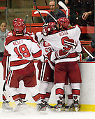 Vesey, Ford, Blackwell and Biega celebrate Criscuolo's first collegiate goal. - The Harvard University Crimson defeated the visiting Brown University Bears 3-2 on Friday, November 2, 2012, at the Bright Hockey Center in Boston, Massachusetts.