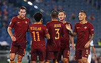 Calcio, Europa League: Roma vs Astra Giurgiu. Roma, stadio Olimpico, 29 settembre 2016.<br /> Roma&rsquo;s Mohamed Salah, second from left, celebrates with teammates after scoring during the Europa League Group E soccer match between Roma and Astra Giurgiu at Rome's Olympic stadium, 29 September 2016. Roma won 4-0.<br /> UPDATE IMAGES PRESS/Riccardo De Luca