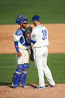 Hartford Yard Goats relief pitcher Matt Pierpont (39) talks with catcher Jan Vazquez (6) during the first game of a doubleheader against the Trenton Thunder on June 1, 2016 at Sen. Thomas J. Dodd Memorial Stadium in Norwich, Connecticut.  Trenton defeated Hartford 4-2.  (Mike Janes/Four Seam Images)