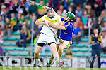 Mike Quilter Lixnaw in action against Michael O'Regan Kilmoyley in the County Senior Hurling Final at Austin Stack Park Tralee on Sunday.