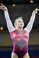 Oklahoma's Brenna Dowell competes on the floor exercise during the semifinals of the NCAA women's gymnastics championships, Friday, April 17, 2015 in Fort Worth, Tex.(Mo Khursheed/TFV Media via AP Images)