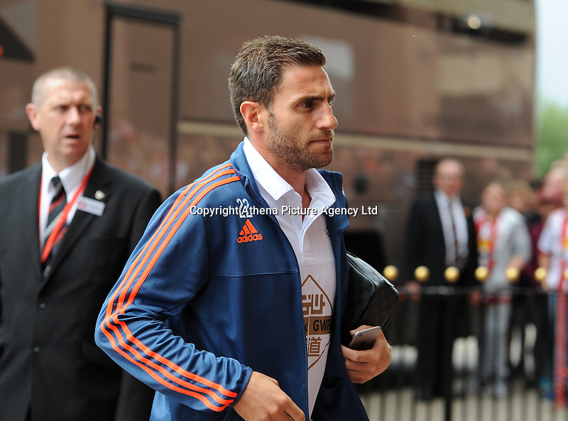 Angel Rangel of Swansea City arrives at the Stadium of Light before kick off during the Barclays Premier League match between Sunderland and Swansea City played at Stadium of Light, Sunderland