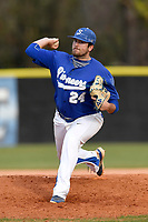 Pitcher John Sendziak (24) of the Spartanburg Methodist College Pioneers delivers a pitch in Game 2 of a junior college doubleheader against Southeastern Community College on Wednesday, March 28, 2018, at Mooneyham Field in Spartanburg, South Carolina. (Tom Priddy/Four Seam Images)