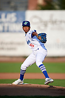 Ogden Raptors starting pitcher Edwin Uceta (15) delivers a pitch to the plate against the Great Falls Voyagers at Lindquist Field on August 16, 2017 in Ogden, Utah. The Voyagers defeated the Raptors 11-6. (Stephen Smith/Four Seam Images)