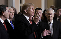 United States President Donald J. Trump talks to the press after the Republican Policy luncheon at the U.S. Capitol Building on January 9, 2019 in Washington, DC. Pictured from left to right: US Senator John Barrasso (Republican of Wyoming), US Vice President Mike Pence, the President, and US Senate Majority Leader Mitch McConnell (Republican of Kentucky).<br /> Credit: Olivier Douliery / Pool via CNP /MediaPunch