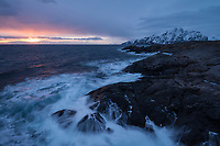 Rocky coastline at Nesland in early January, Flakstadøy, Lofoten Islands, Norway