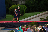 United States Vice President Mike Pence and Second Lady Karen Pence arrive at the Salute to America event in Washington D.C. on July 4, 2019.  The event included a flyover of Air Force One, the Blue Angels, and military aircraft representing each branch of the military.<br /> <br /> Credit: Stefani Reynolds / CNP