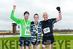 Don Hayes 3rd, Derek Griffin, 1st, Ian Kelly 2nd at   the Kerry's Eye Valentines Weekend 10 mile road race at the Tralee Bay Wetlands on Sunday
