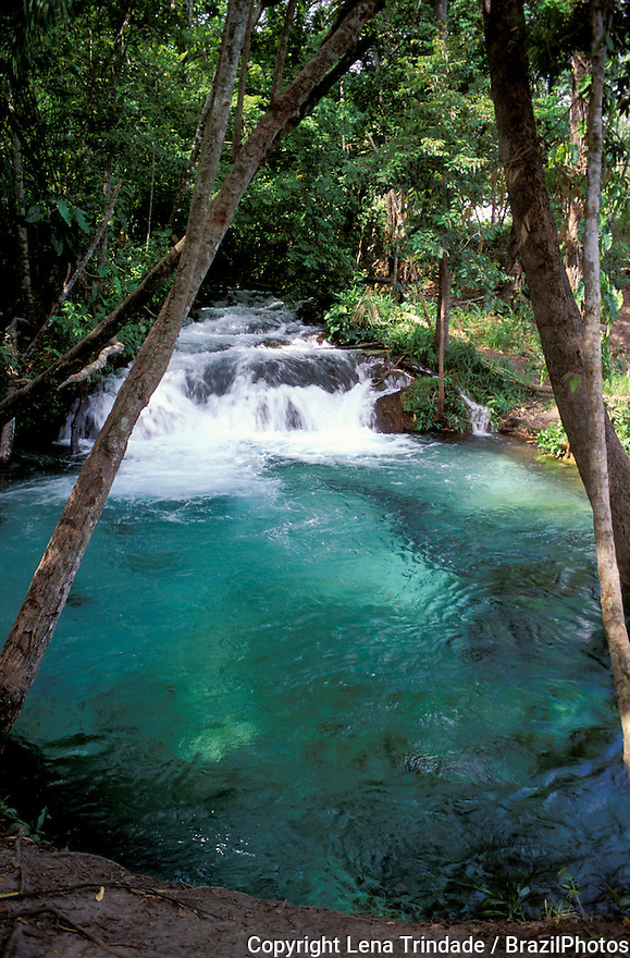 Crystalline waters of river, Cachoeira do Formiga ( Formiga waterfall ) at Jalapao State Park (Portuguese: Parque Estadual do Jalapão), a state park in Tocantins State, Brazil.