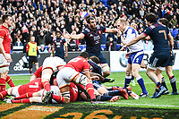 Team of France celebrates a try during the RBS Six Nations match between France and Wales at Stade de France on March 18, 2017 in Paris, France. (Photo by Anthony Dibon/Icon Sport)