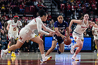 COLLEGE PARK, MD - JANUARY 26: Jordan Hamilton #24 of Northwestern breaks between Blair Watson #22 and Taylor Mikesell #11 of Maryland during a game between Northwestern and Maryland at Xfinity Center on January 26, 2020 in College Park, Maryland.