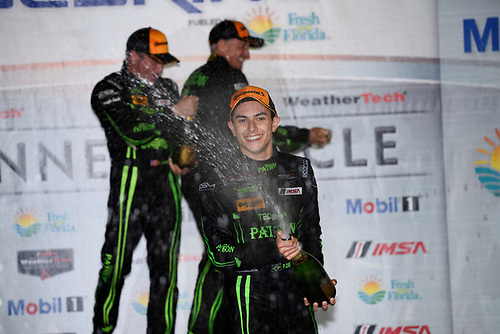 16-19 March, 2016, Sebring, Florida USA<br /> 2, Honda HPD, Ligier JS P2, P,  Luis Felipe Derani celebrates in Victory Lane.<br /> ©2016, Richard Dole<br /> LAT Photo USA