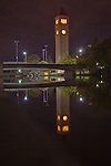 Spokane Washington Riverfront Park Clocktower at night reflected on the Spokane River