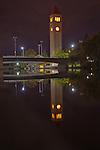 Spokane Washington Riverfront Park Clocktower at night reflected on the Spokane River