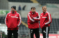 Wednesday, 23 April 2014<br /> Pictured L-R: Kristian O'Leary, Pep and Garry Monk. <br /> Re: Swansea City FC are holding an open training session for their supporters at the Liberty Stadium, south Wales,