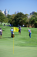 Charl Schwartzel (RSA) chips on to 5 during round 1 foursomes of the 2017 President's Cup, Liberty National Golf Club, Jersey City, New Jersey, USA. 9/28/2017.<br /> Picture: Golffile | Ken Murray<br /> ll photo usage must carry mandatory copyright credit (&copy; Golffile | Ken Murray)