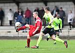 2017-11-05 / voetbal / seizoen 2017-2018 / VC Herentals - Hoeilaart / Stef Bruyninckx (l) (VC Herentals) controleert de bal met in zijn rug Steven Op 'T Eynde (r) (Hoeilaart)