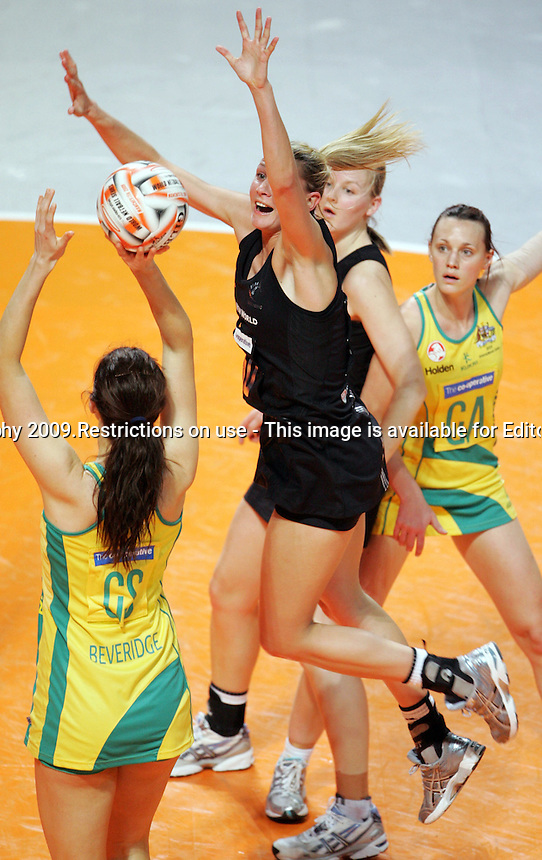 11.10.2009 Silver Ferns Casey Williams in action during the World Netball Series semi final match between the Silver Ferns and Australia in Manchester, England. Mandatory Photo Credit (Pic: Tim Hales). ©Michael Bradley Photography.
