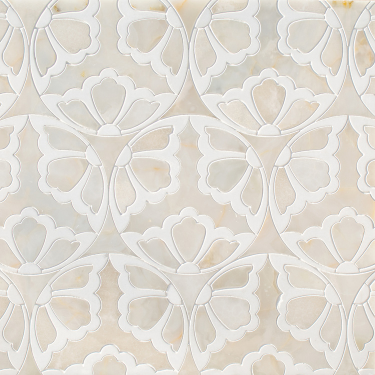 Rosamond, a waterjet stone mosaic, shown in polished White Onyx and Thassos, is part of the Bright Young Things™ collection by New Ravenna.