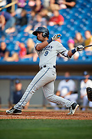West Michigan Whitecaps shortstop Anthony Pereira (9) follows through on a swing during the first game of a doubleheader against the Lake County Captains on August 6, 2017 at Classic Park in Eastlake, Ohio.  Lake County defeated West Michigan 4-0.  (Mike Janes/Four Seam Images)