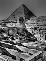 The Great Pyramid of Giza or Khufu and Egyptian Sphinx Head C. 2560-2540 BC. Egypt